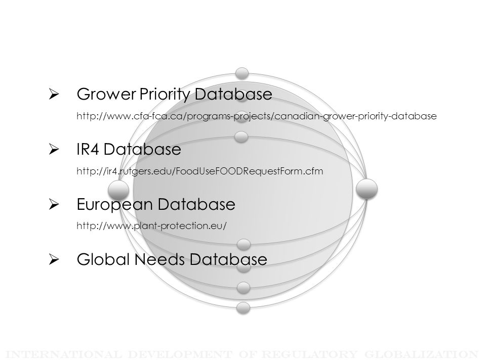 International Development of Regulatory Globalization  Grower Priority Database http://www.cfa-fca.ca/programs-projects/canadian-grower-priority-database  IR4 Database http://ir4.rutgers.edu/FoodUseFOODRequestForm.cfm  European Database http://www.plant-protection.eu/  Global Needs Database
