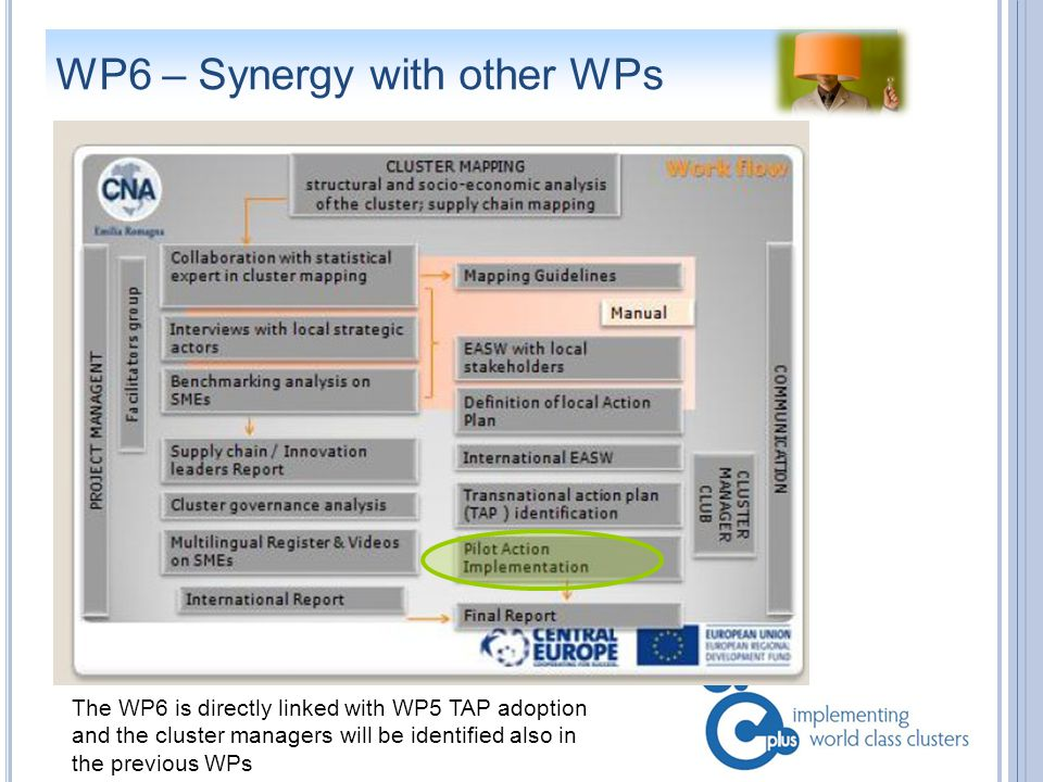 WP6 – Synergy with other WPs The WP6 is directly linked with WP5 TAP adoption and the cluster managers will be identified also in the previous WPs