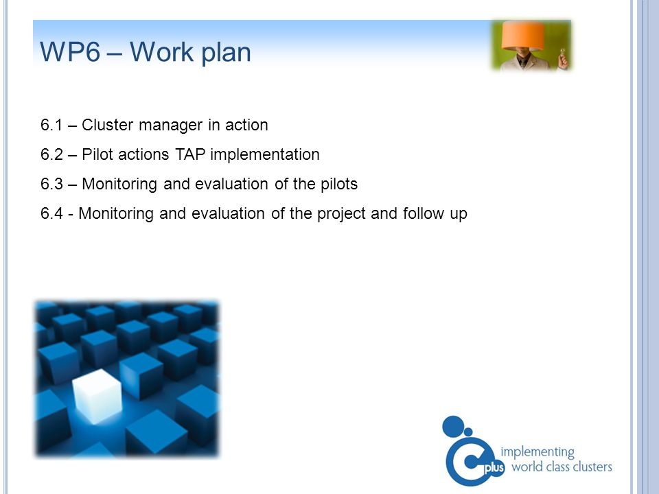 WP6 – Work plan 6.1 – Cluster manager in action 6.2 – Pilot actions TAP implementation 6.3 – Monitoring and evaluation of the pilots 6.4 - Monitoring and evaluation of the project and follow up