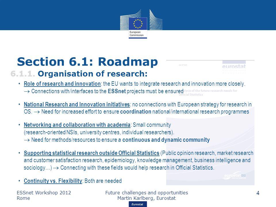 Eurostat Section 6.1: Roadmap 6.1.1.
