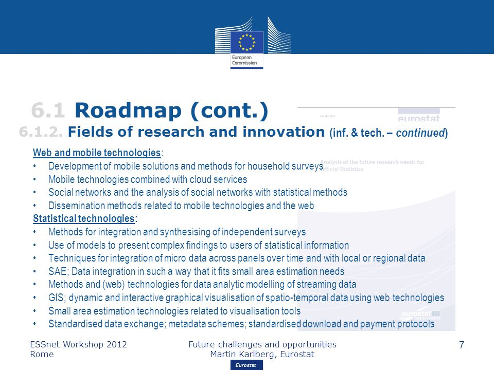 Eurostat 6.1 Roadmap (cont.) 6.1.2.Fields of research and innovation (inf.