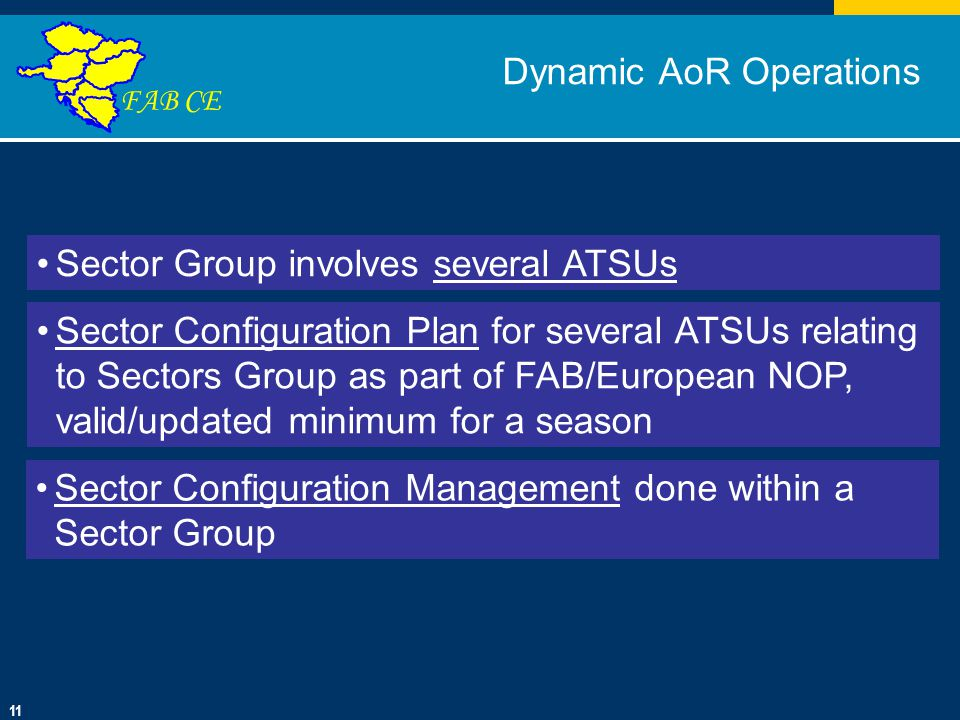 Click to edit Master title style Click to edit Master text styles Second level Third level Fourth level Fifth level 01/10/201411 FAB CE Dynamic AoR Operations Sector Group involves several ATSUs Sector Configuration Plan for several ATSUs relating to Sectors Group as part of FAB/European NOP, valid/updated minimum for a season Sector Configuration Management done within a Sector Group