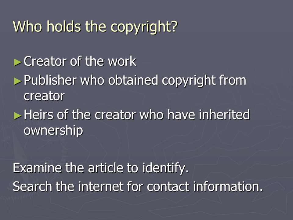 Who holds the copyright.