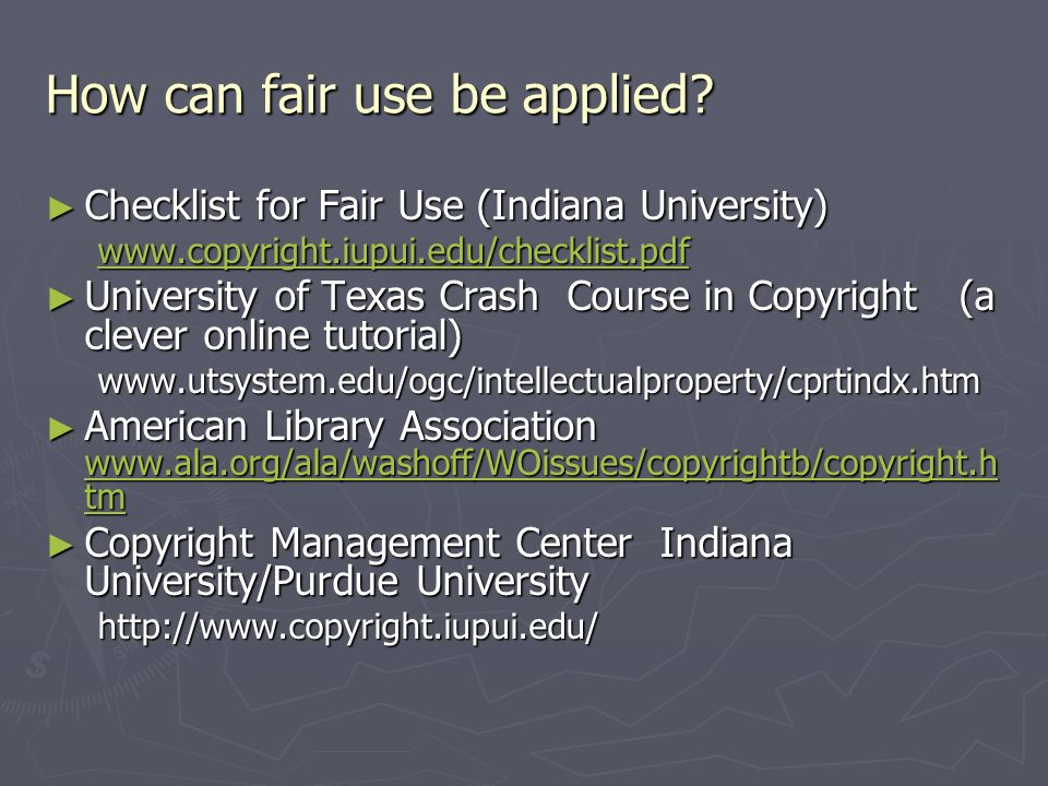How can fair use be applied.