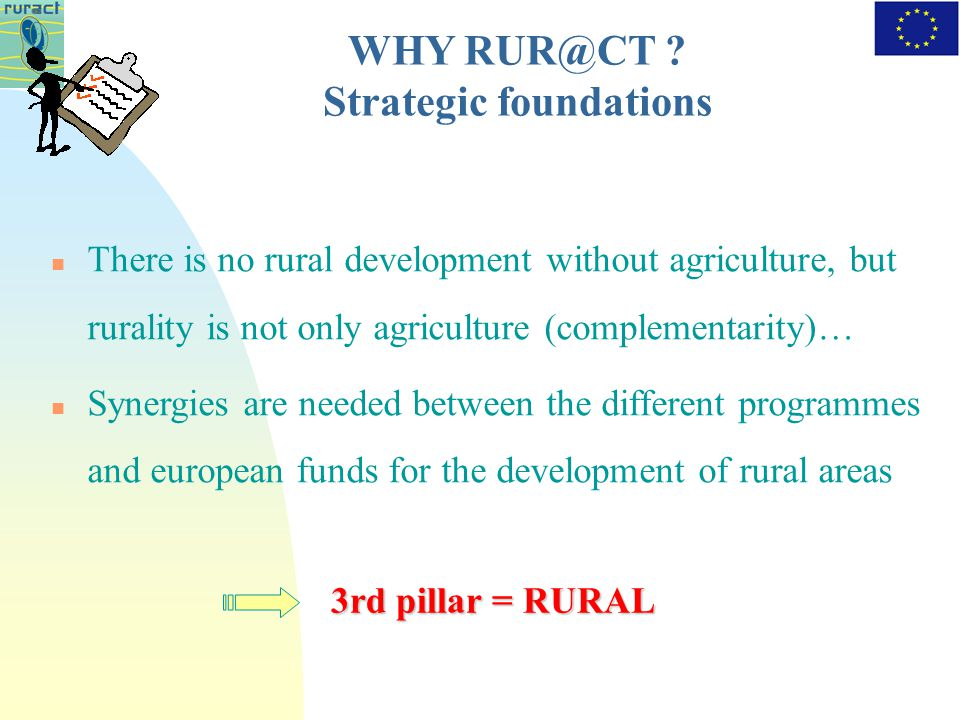 There is no rural development without agriculture, but rurality is not only agriculture (complementarity)… Synergies are needed between the different programmes and european funds for the development of rural areas 3rd pillar = RURAL WHY .