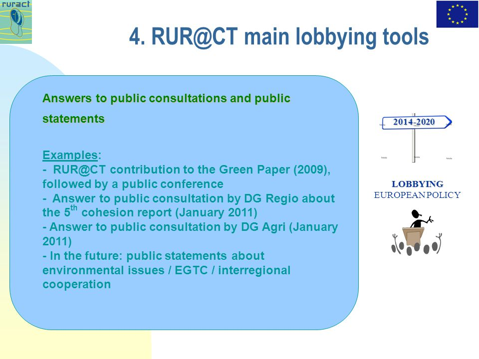 4. RUR@CT main lobbying tools 2014-2020 LOBBYING LOBBYING EUROPEAN POLICY Answers to public consultations and public statements Examples: - RUR@CT con