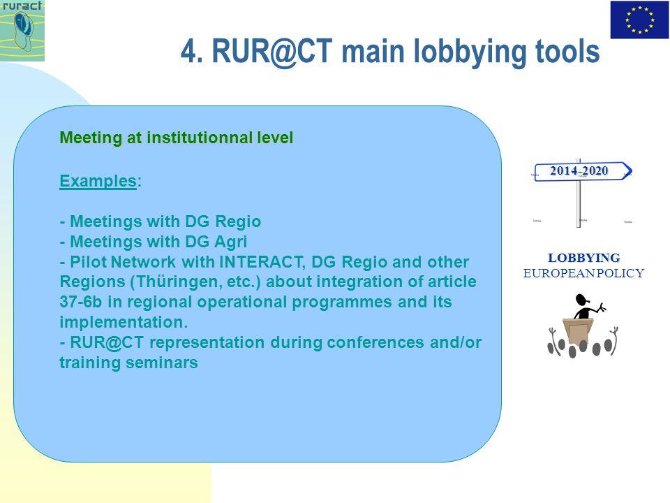 4. RUR@CT main lobbying tools 2014-2020 LOBBYING LOBBYING EUROPEAN POLICY Meeting at institutionnal level Examples: - Meetings with DG Regio - Meeting