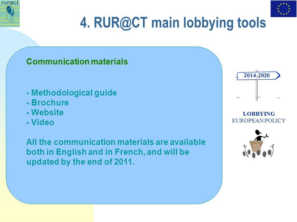 4. RUR@CT main lobbying tools 2014-2020 LOBBYING LOBBYING EUROPEAN POLICY Communication materials - Methodological guide - Brochure - Website - Video