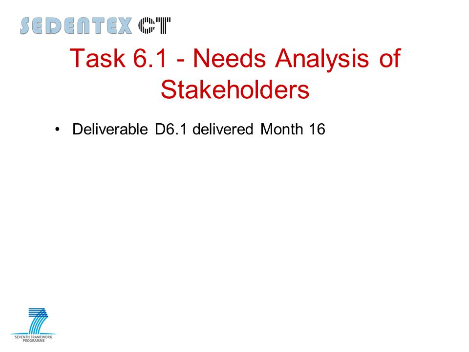 Task 6.1 - Needs Analysis of Stakeholders Deliverable D6.1 delivered Month 16