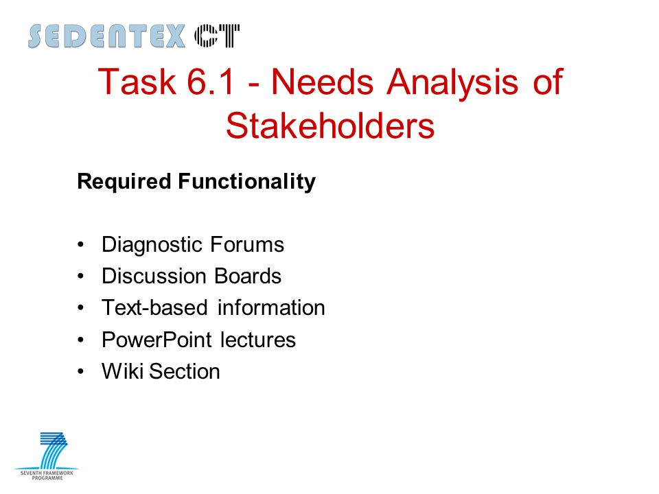 Task 6.1 - Needs Analysis of Stakeholders Required Functionality Diagnostic Forums Discussion Boards Text-based information PowerPoint lectures Wiki S