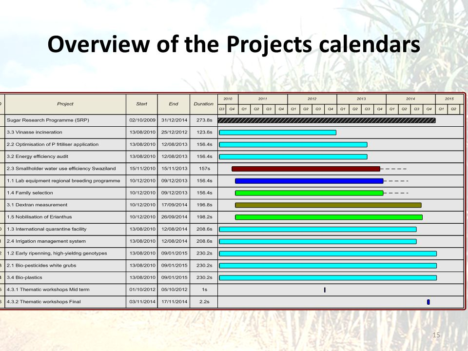 Overview of the Projects calendars 15