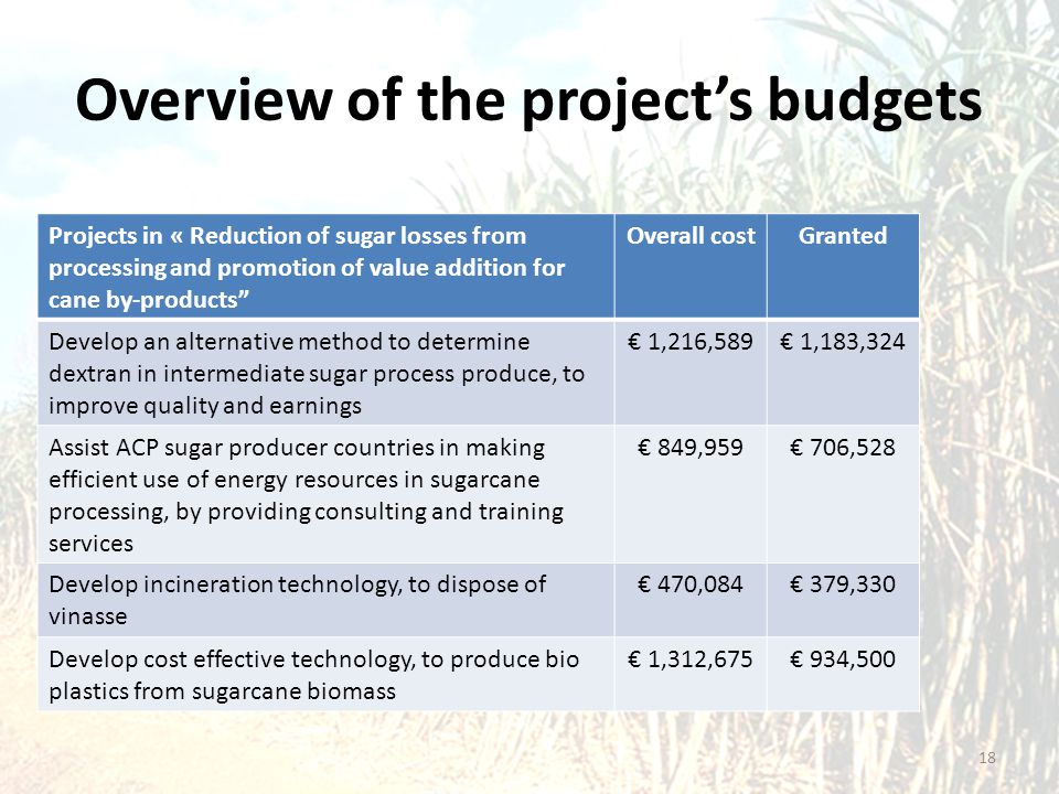 """Overview of the project's budgets Projects in « Reduction of sugar losses from processing and promotion of value addition for cane by-products"""" Overal"""