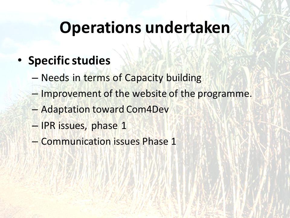 Operations undertaken Specific studies – Needs in terms of Capacity building – Improvement of the website of the programme. – Adaptation toward Com4De