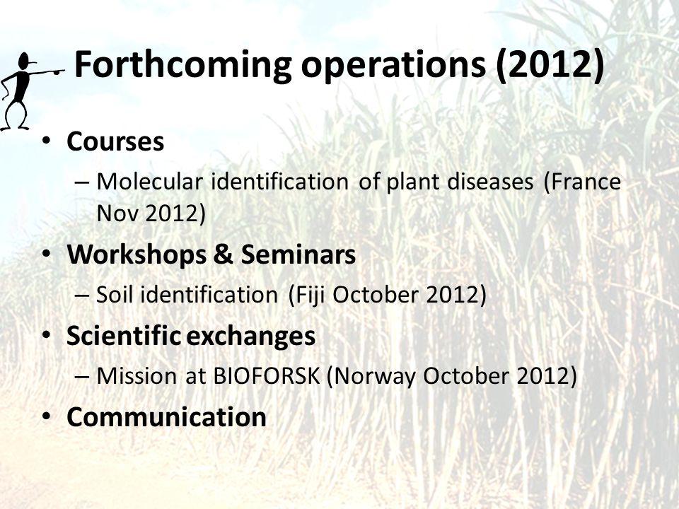 Forthcoming operations (2012) Courses – Molecular identification of plant diseases (France Nov 2012) Workshops & Seminars – Soil identification (Fiji