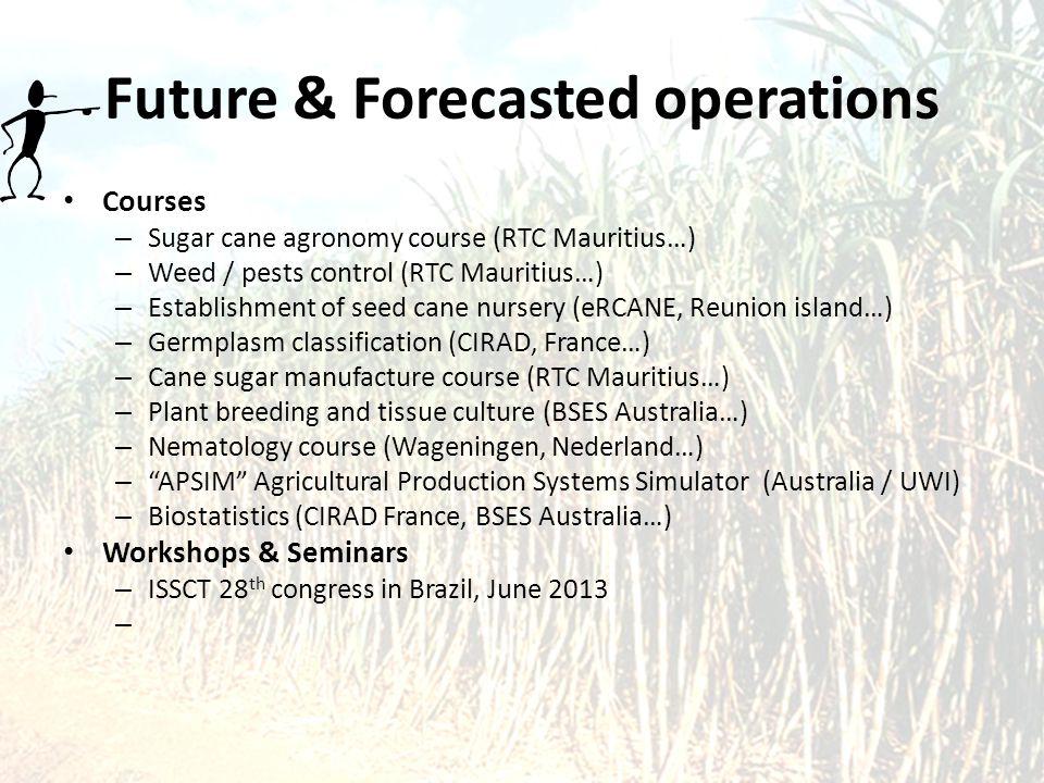 Future & Forecasted operations Courses – Sugar cane agronomy course (RTC Mauritius…) – Weed / pests control (RTC Mauritius…) – Establishment of seed c