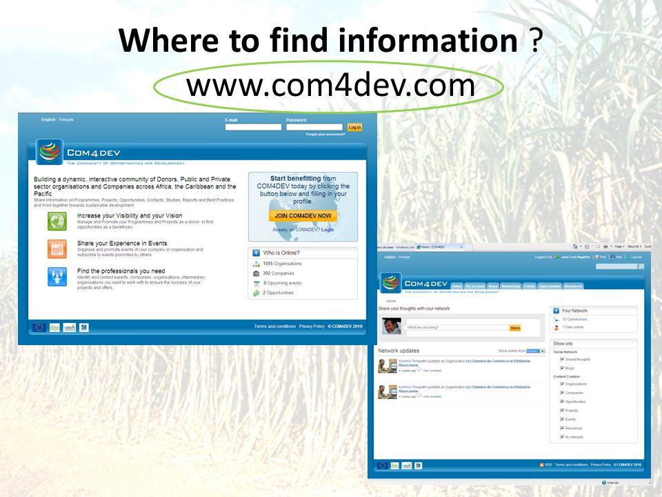 Where to find information www.com4dev.com Com4Dev Website 47