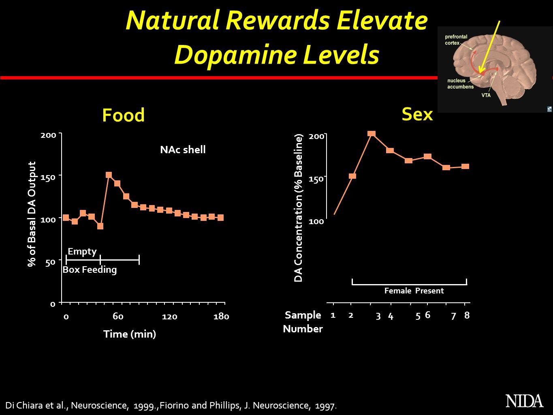 Di Chiara et al., Neuroscience, 1999.,Fiorino and Phillips, J. Neuroscience, 1997. Natural Rewards Elevate Dopamine Levels 0 50 100 150 200 060120180