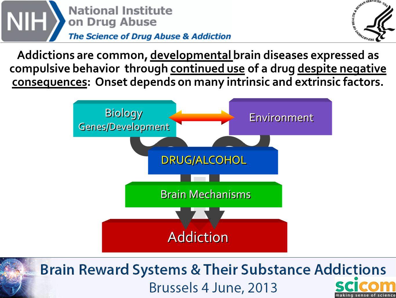 Addiction DRUG/ALCOHOL Brain Mechanisms Biology Genes/Development Biology Genes/Development Environment Addictions are common, developmental brain dis