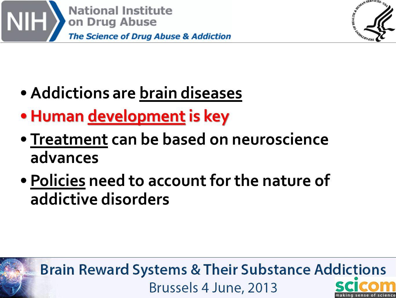 Addictions are brain diseases Human development is keyHuman development is key Treatment can be based on neuroscience advances Policies need to accoun