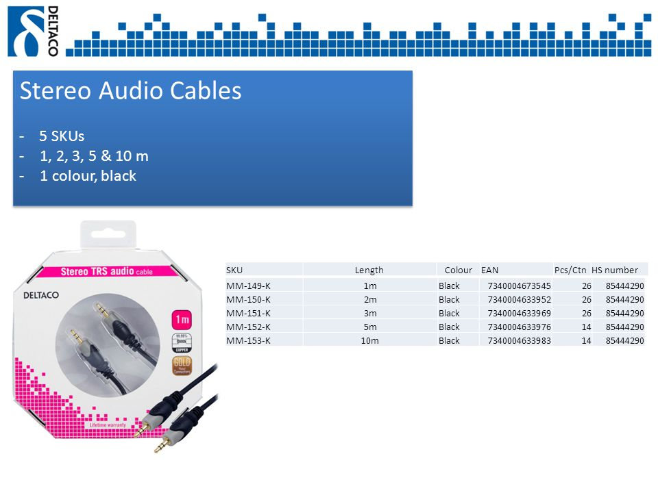 Stereo Audio Cables - 5 SKUs -1, 2, 3, 5 & 10 m -1 colour, black Stereo Audio Cables - 5 SKUs -1, 2, 3, 5 & 10 m -1 colour, black SKULengthColourEANPcs/CtnHS number MM-149-K1mBlack73400046735452685444290 MM-150-K2mBlack73400046339522685444290 MM-151-K3mBlack73400046339692685444290 MM-152-K5mBlack73400046339761485444290 MM-153-K10mBlack73400046339831485444290