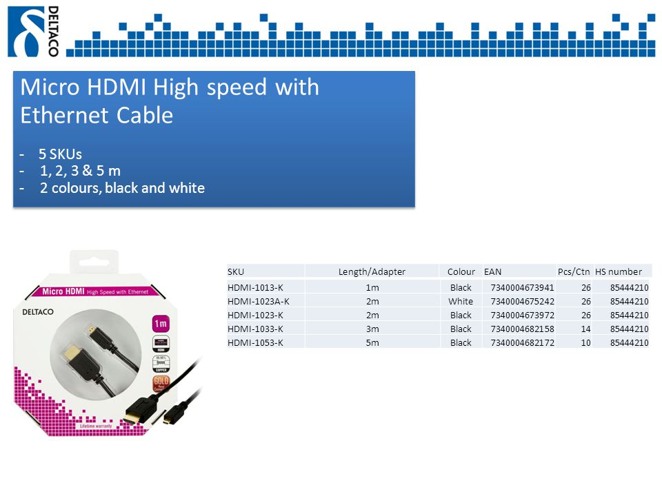 Micro HDMI High speed with Ethernet Cable - 5 SKUs -1, 2, 3 & 5 m -2 colours, black and white Micro HDMI High speed with Ethernet Cable - 5 SKUs -1, 2, 3 & 5 m -2 colours, black and white SKULength/AdapterColourEANPcs/CtnHS number HDMI-1013-K1mBlack73400046739412685444210 HDMI-1023A-K2mWhite73400046752422685444210 HDMI-1023-K2mBlack73400046739722685444210 HDMI-1033-K3mBlack73400046821581485444210 HDMI-1053-K5mBlack73400046821721085444210