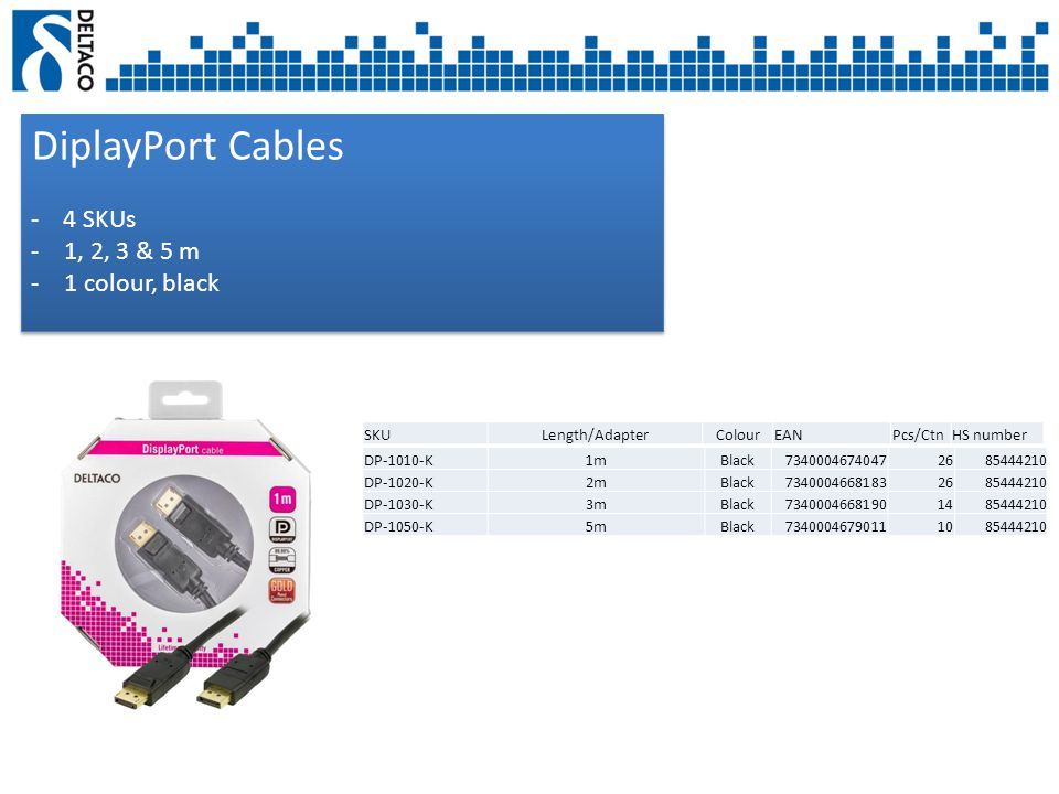 DiplayPort Cables - 4 SKUs -1, 2, 3 & 5 m -1 colour, black DiplayPort Cables - 4 SKUs -1, 2, 3 & 5 m -1 colour, black SKULength/AdapterColourEANPcs/CtnHS number DP-1010-K1mBlack73400046740472685444210 DP-1020-K2mBlack73400046681832685444210 DP-1030-K3mBlack73400046681901485444210 DP-1050-K5mBlack73400046790111085444210