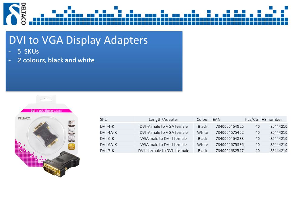 DVI to VGA Display Adapters - 5 SKUs -2 colours, black and white DVI to VGA Display Adapters - 5 SKUs -2 colours, black and white SKULength/AdapterColourEANPcs/CtnHS number DVI-4-KDVI-A male to VGA femaleBlack73400004648264085444210 DVI-4A-KDVI-A male to VGA femaleWhite73400046754024085444210 DVI-6-KVGA male to DVI-I femaleBlack73400004648334085444210 DVI-6A-KVGA male to DVI-I femaleWhite73400046753964085444210 DVI-7-KDVI-I female to DVI-I femaleBlack73400046825474085444210