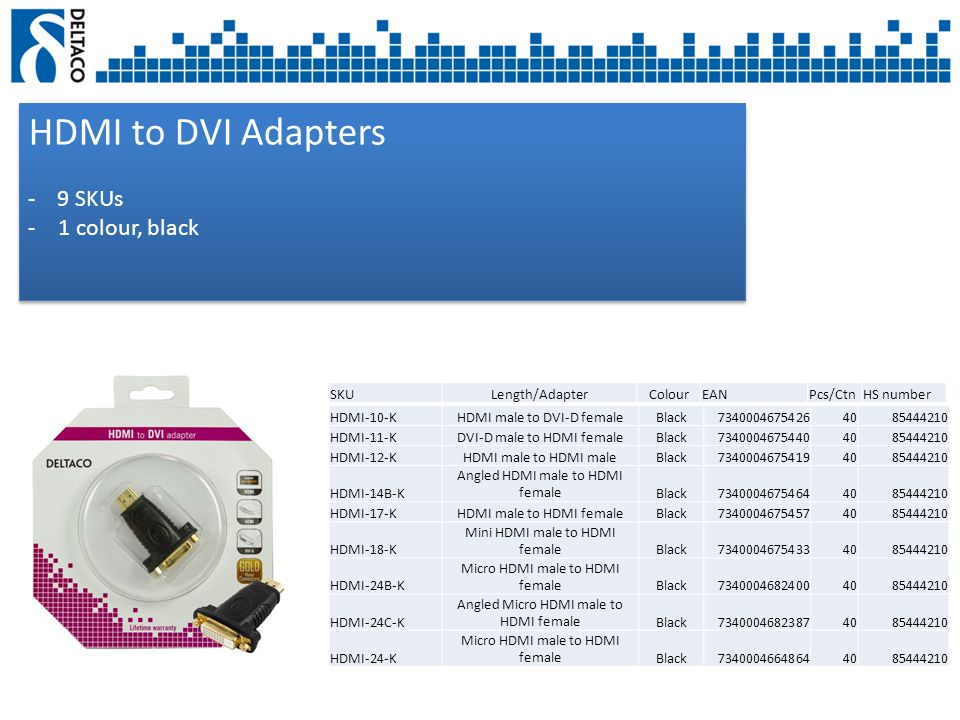 HDMI to DVI Adapters - 9 SKUs -1 colour, black HDMI to DVI Adapters - 9 SKUs -1 colour, black SKULength/AdapterColourEANPcs/CtnHS number HDMI-10-KHDMI male to DVI-D femaleBlack73400046754264085444210 HDMI-11-KDVI-D male to HDMI femaleBlack73400046754404085444210 HDMI-12-KHDMI male to HDMI maleBlack73400046754194085444210 HDMI-14B-K Angled HDMI male to HDMI femaleBlack73400046754644085444210 HDMI-17-KHDMI male to HDMI femaleBlack73400046754574085444210 HDMI-18-K Mini HDMI male to HDMI femaleBlack73400046754334085444210 HDMI-24B-K Micro HDMI male to HDMI femaleBlack73400046824004085444210 HDMI-24C-K Angled Micro HDMI male to HDMI femaleBlack73400046823874085444210 HDMI-24-K Micro HDMI male to HDMI femaleBlack73400046648644085444210