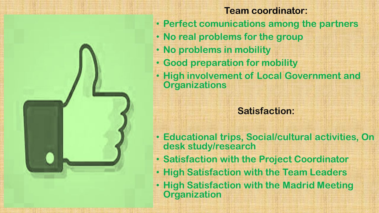 Team coordinator: Perfect comunications among the partners No real problems for the group No problems in mobility Good preparation for mobility High involvement of Local Government and Organizations Satisfaction: Educational trips, Social/cultural activities, On desk study/research Satisfaction with the Project Coordinator High Satisfaction with the Team Leaders High Satisfaction with the Madrid Meeting Organization