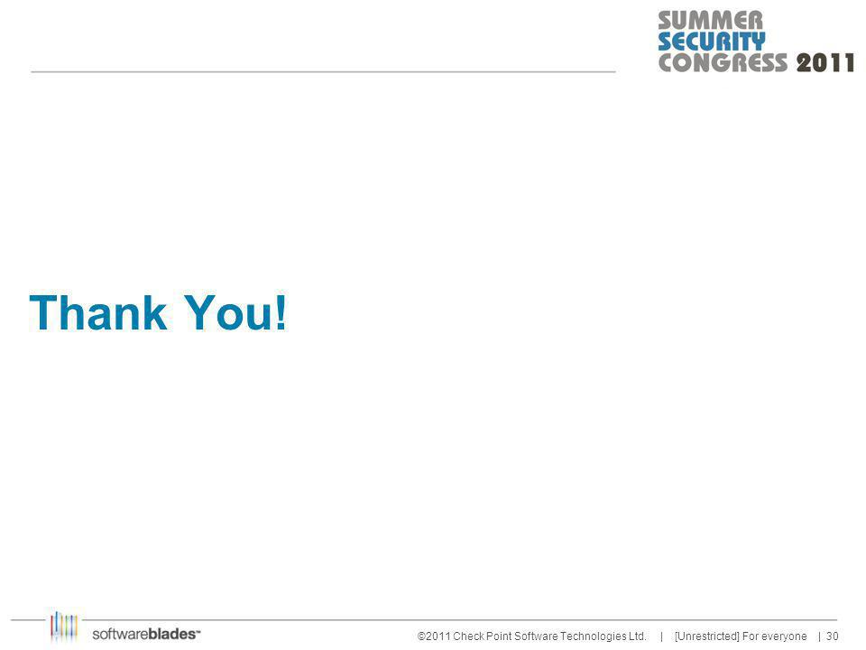 30 ©2011 Check Point Software Technologies Ltd. | [Unrestricted] For everyone | Thank You!