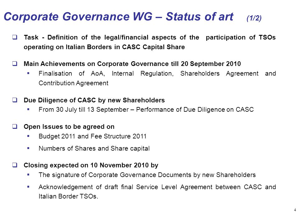  Task - Definition of the legal/financial aspects of the participation of TSOs operating on Italian Borders in CASC Capital Share  Main Achievements
