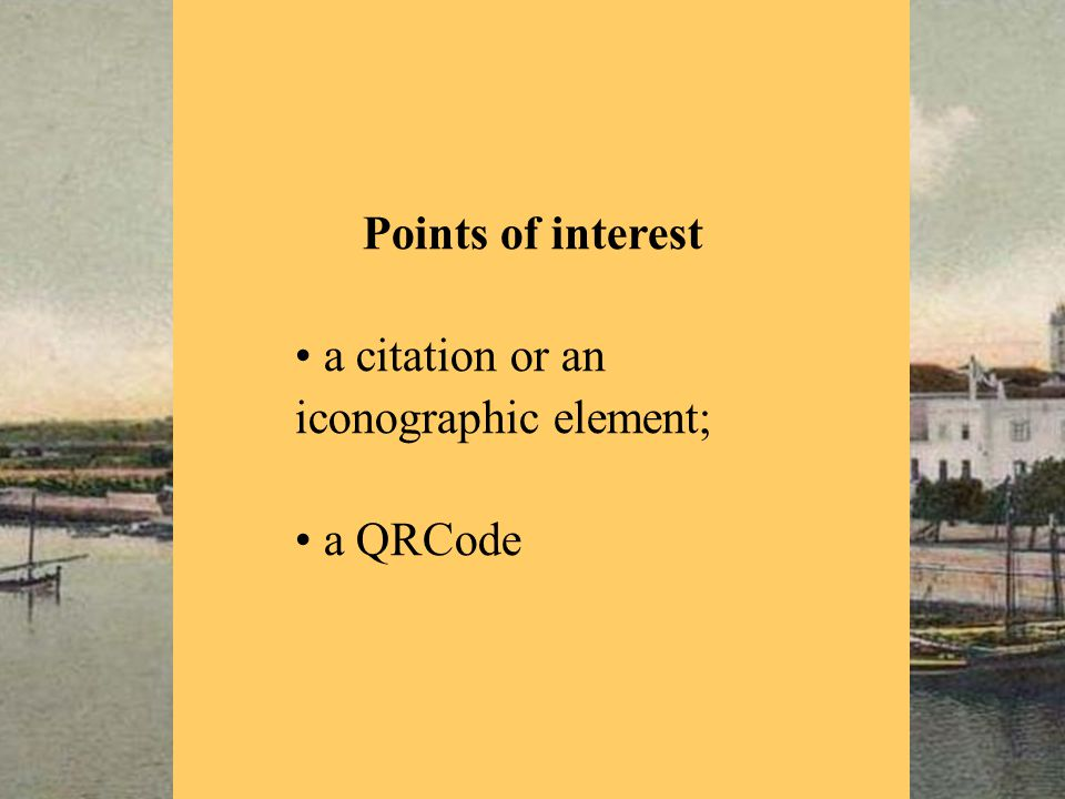 Points of interest a citation or an iconographic element; a QRCode