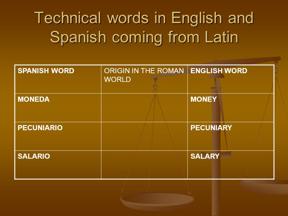 Technical words in English and Spanish coming from Latin SPANISH WORDORIGIN IN THE ROMAN WORLD ENGLISH WORD MONEDAMONEY PECUNIARIOPECUNIARY SALARIOSALARY