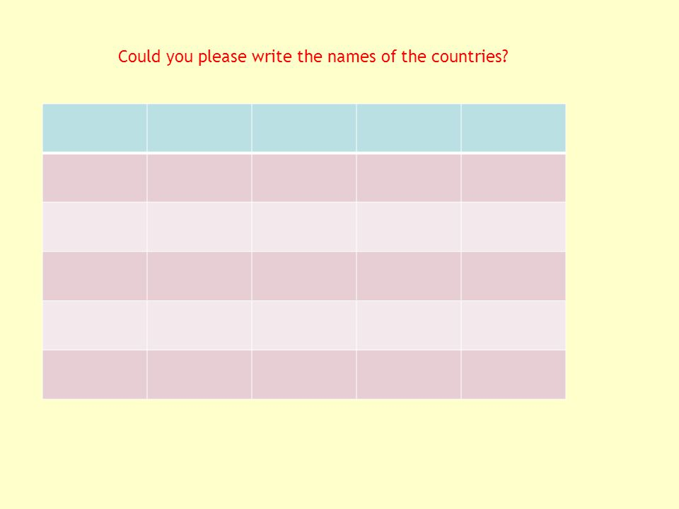 Could you please write the names of the countries