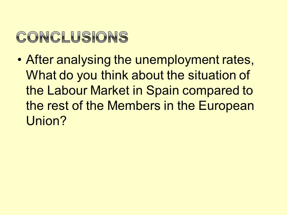 After analysing the unemployment rates, What do you think about the situation of the Labour Market in Spain compared to the rest of the Members in the