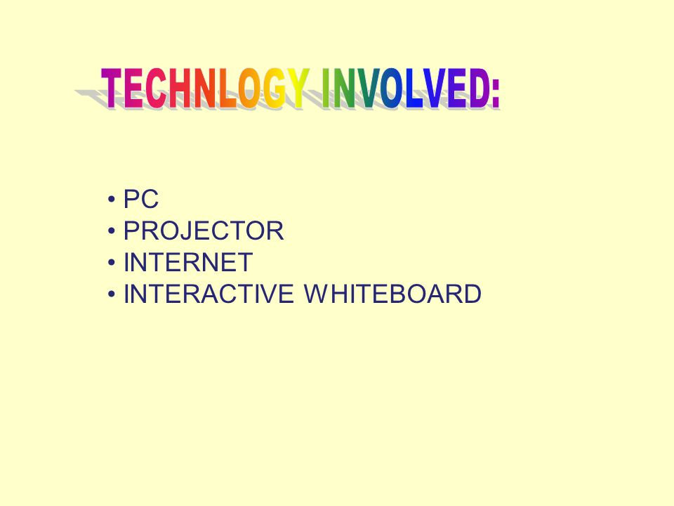 PC PROJECTOR INTERNET INTERACTIVE WHITEBOARD