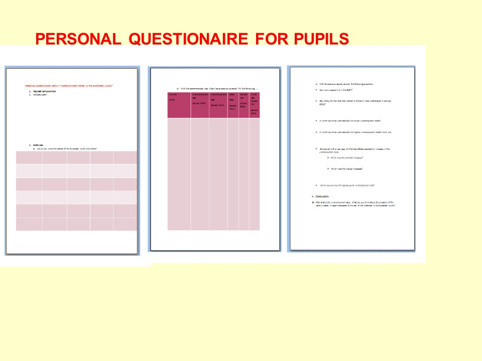 PERSONAL QUESTIONAIRE FOR PUPILS