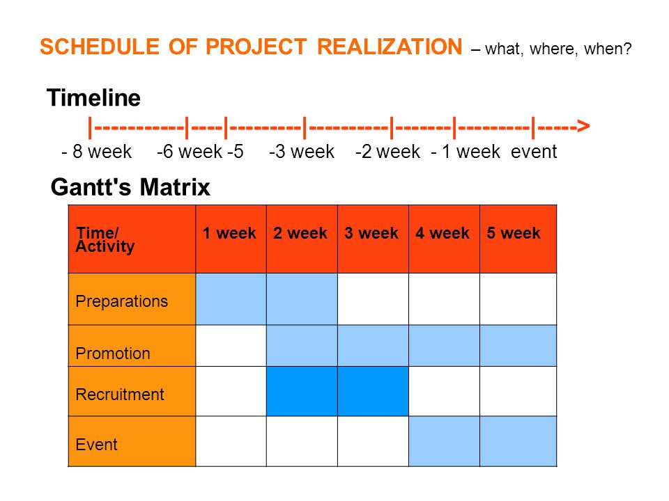 SCHEDULE OF PROJECT REALIZATION – what, where, when.