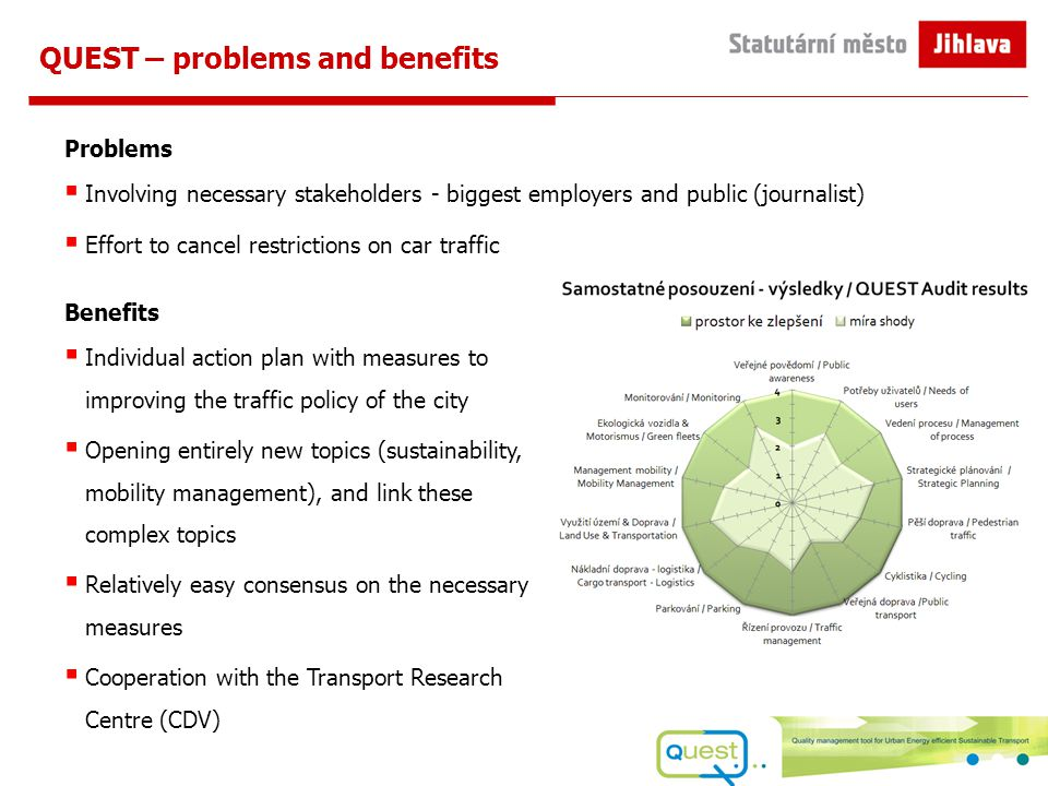 QUEST – problems and benefits Problems  Involving necessary stakeholders - biggest employers and public (journalist)  Effort to cancel restrictions on car traffic Benefits  Individual action plan with measures to improving the traffic policy of the city  Opening entirely new topics (sustainability, mobility management), and link these complex topics  Relatively easy consensus on the necessary measures  Cooperation with the Transport Research Centre (CDV)