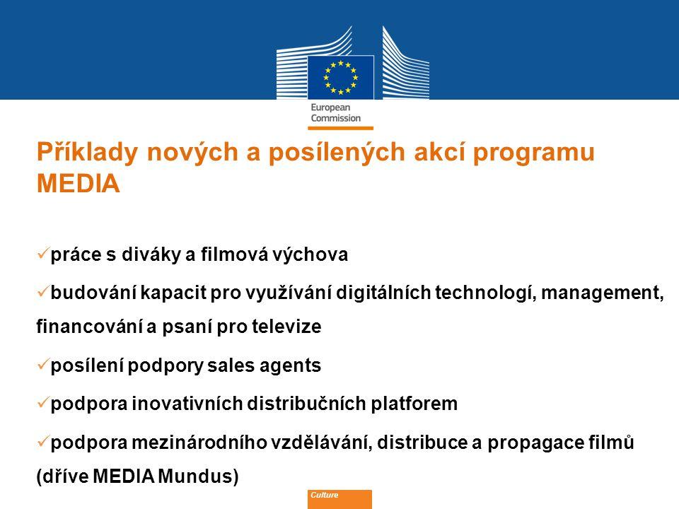 Date: in 12 pts Příklady nových a posílených akcí programu MEDIA práce s diváky a filmová výchova budování kapacit pro využívání digitálních technologí, management, financování a psaní pro televize posílení podpory sales agents podpora inovativních distribučních platforem podpora mezinárodního vzdělávání, distribuce a propagace filmů (dříve MEDIA Mundus) Culture