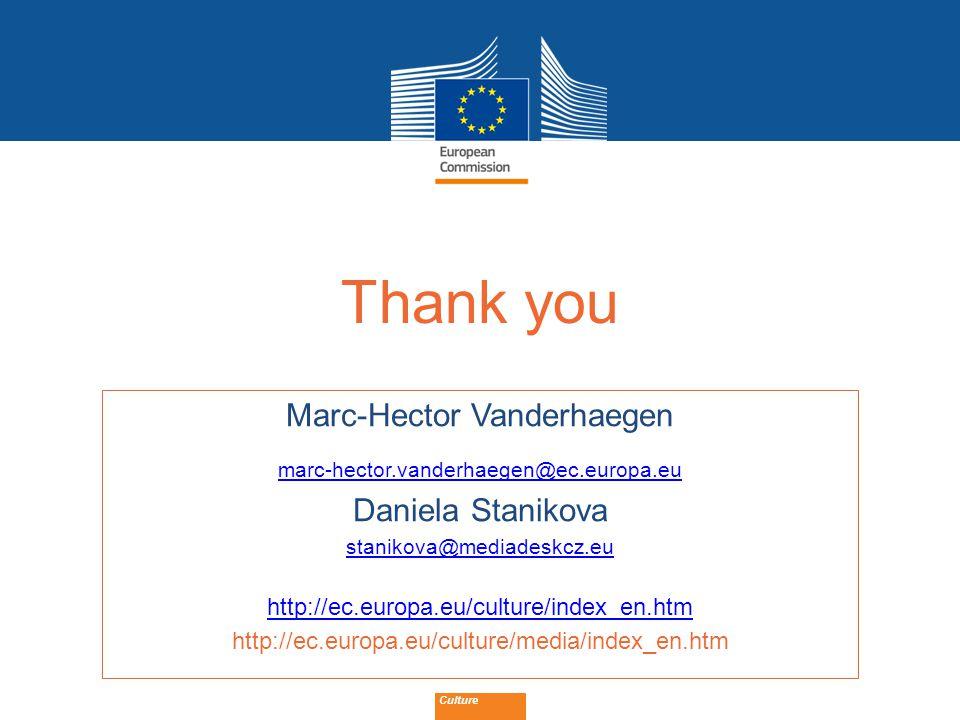 Date: in 12 pts Culture Thank you Marc-Hector Vanderhaegen marc-hector.vanderhaegen@ec.europa.eu Daniela Stanikova stanikova@mediadeskcz.eu http://ec.europa.eu/culture/index_en.htm http://ec.europa.eu/culture/media/index_en.htm