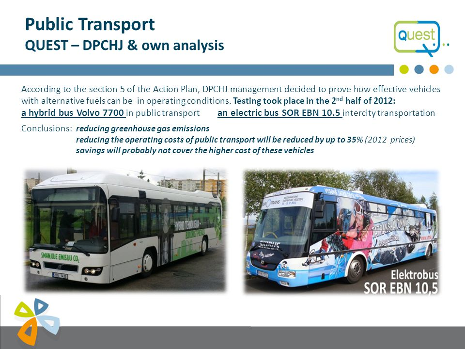 Public Transport QUEST – DPCHJ & low carbon strategy What does QUEST (Quality management tool for Urban Energy efficient Sustainable Transport) provide to DPCHJ Management.