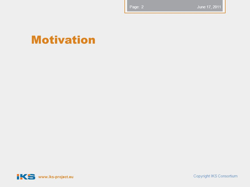 www.iks-project.eu Page: Motivation Copyright IKS Consortium 2 June 17, 2011