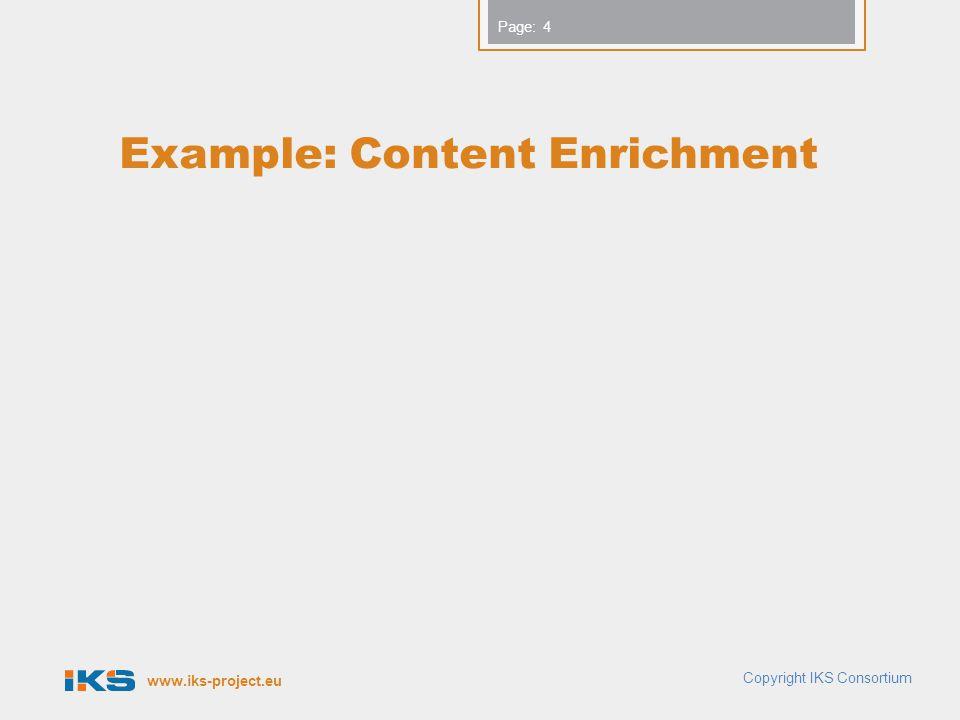 www.iks-project.eu Page: Example: Content Enrichment Copyright IKS Consortium 4