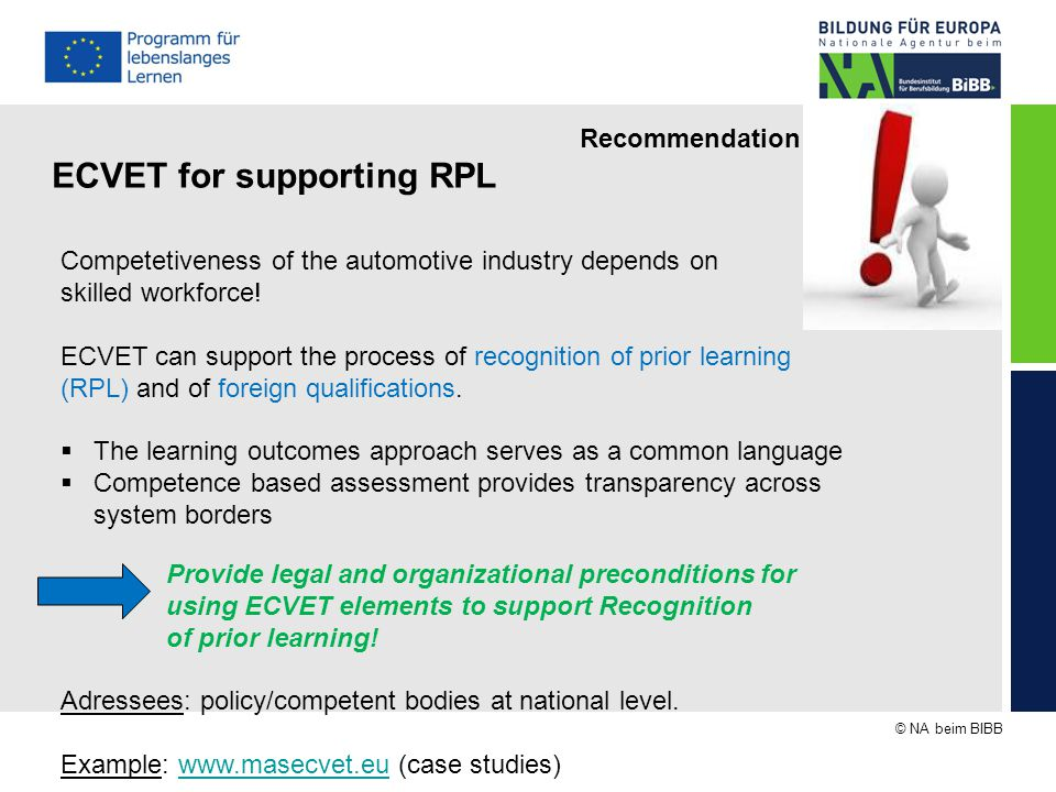 © NA beim BIBB Recommendation Link ECVET and EU instruments ECVET is not a stand alone instrument.