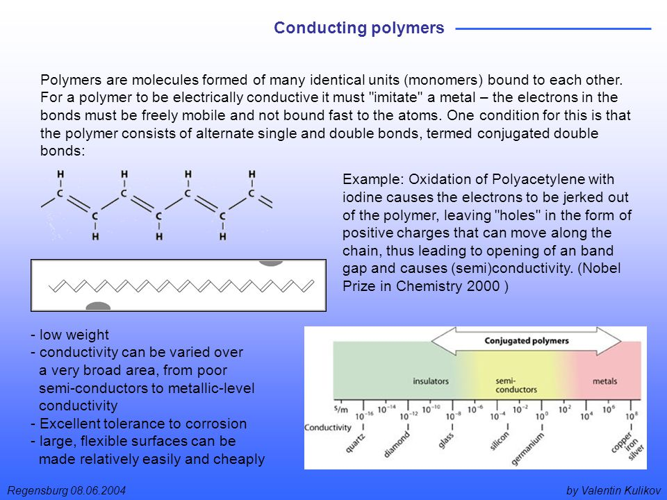by Valentin KulikovRegensburg 08.06.2004 Conducting polymers Polymers are molecules formed of many identical units (monomers) bound to each other.