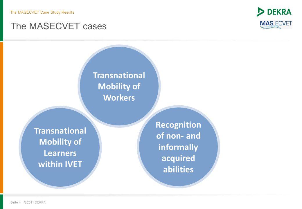 Seite 4 © 2011 DEKRA The MASECVET cases The MASECVET Case Study Results Transnational Mobility of Learners within IVET Transnational Mobility of Worke