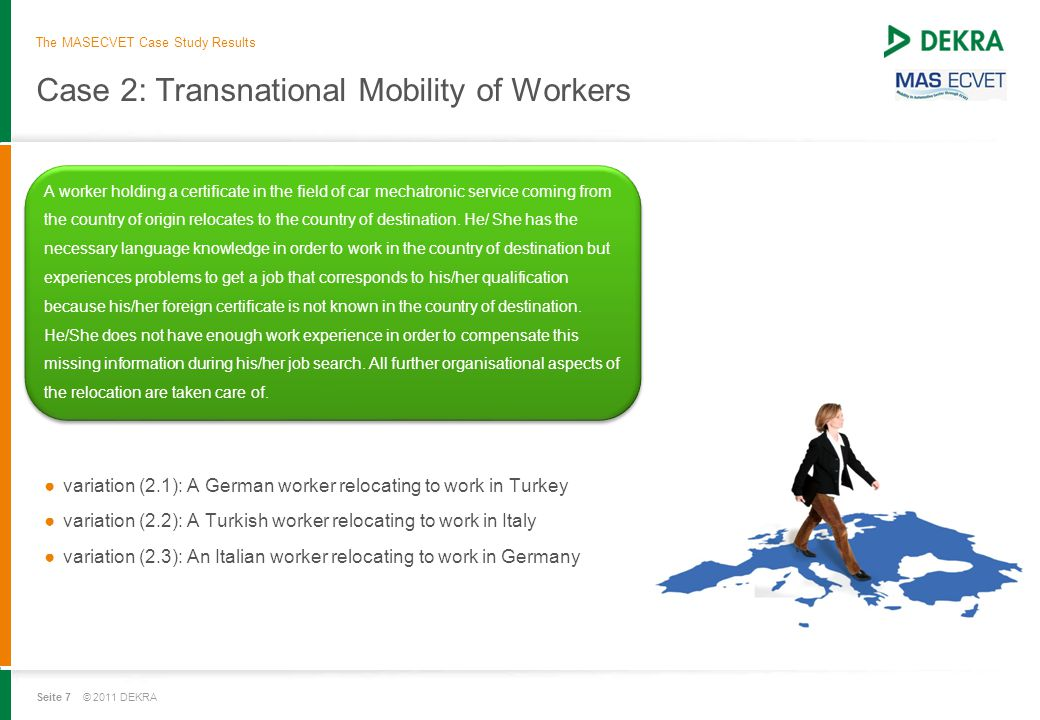 Seite 7 © 2011 DEKRA Case 2: Transnational Mobility of Workers A worker holding a certificate in the field of car mechatronic service coming from the