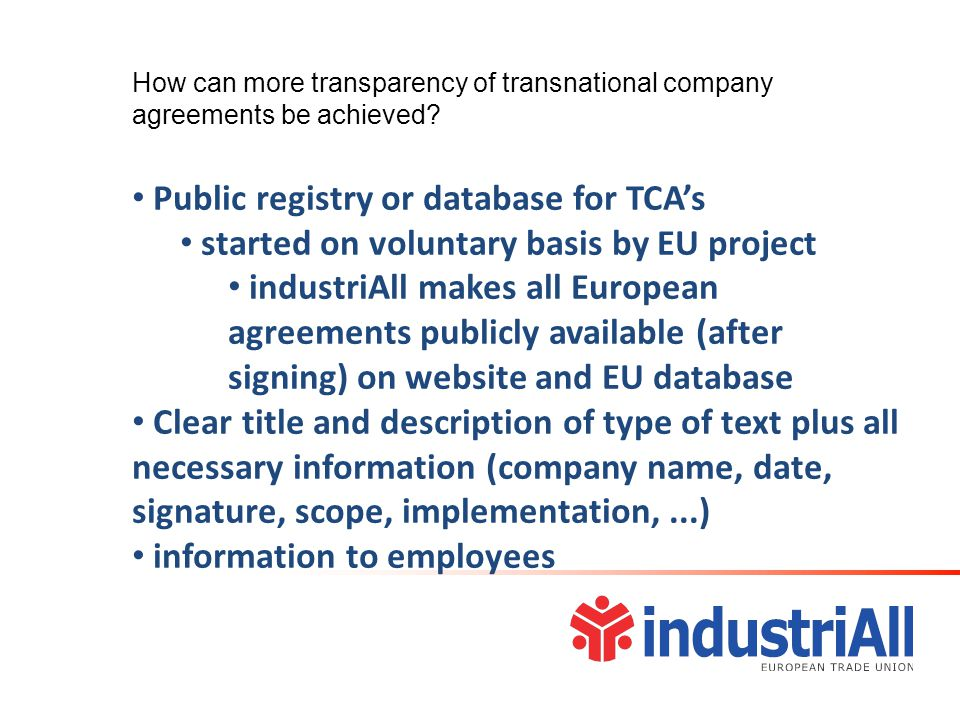 How can more transparency of transnational company agreements be achieved.
