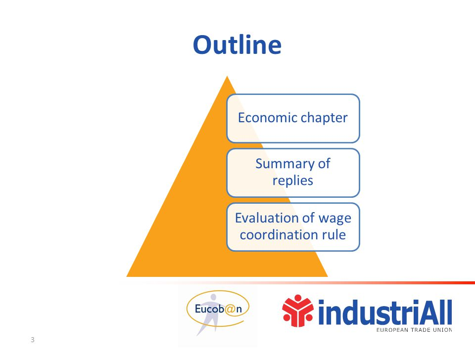 Unique calculation  Value Of the Whole Agreement, not total labour costs (VOWA)  Deduct inflation (HICP) and labour productivity, look at more than one year  Result: Balanced Participation in Productivity Gains (BPPG)  Is there a need for a calculation tool or a training course.